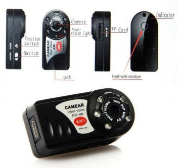 WiFi mini HD spijunska kamera Q7 P2P IP Night Vision