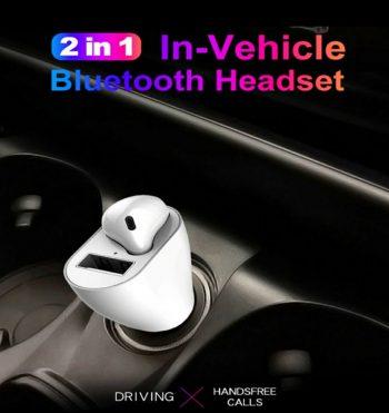 USB auto punjac za automobil Bluetooth slusalice 2 u 1
